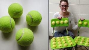 Toen deze juf tennisballen op de stoelen plakte had ze niet verwacht hoe het ged