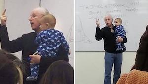 Een vrouw neemt haar baby mee in de klas, de professor zijn reactie op de huilen