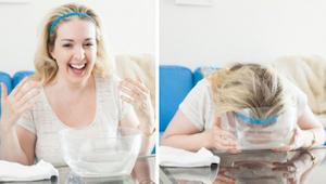 Meer en meer vrouwen dompelen hun gezichten onder in sparkelwater gedurende 30 s