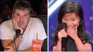 Het meisje zegt dat ze een nummer van Celine Dion wil zingen de jury zucht hard