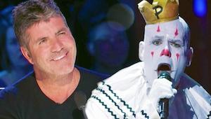 Zingende clown charmeerde Simon Cowell met een prachtige versie van All By Mysel