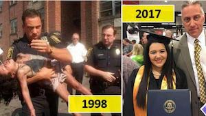 Een politieagent redde het meisje uit een brand. 19 jaar later kon hij zien hoe