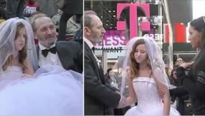 Hij is 65 en zij 12. Bekijk de reactie van de mensen op hun bruiloft.