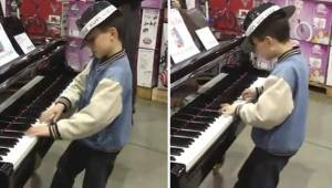 Een jongen ging achter de piano in de winkel zitten en liet een onuitwisbare ind