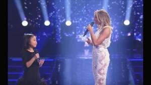 Een grote ster vroeg een klein meisje of zij het nummer You Raise Me Up kon zing