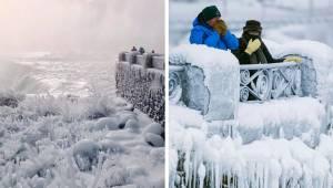 In de Verenigde Staten is het zo koud dat zelfs de Niagara-waterval bevroren is.