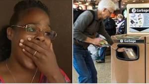 Een jonge vrouw zag hoe een oude man met tranen in zijn ogen een cadeau weggooid