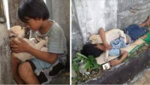 Hij is 11 en heeft nergens om te wonen. Hij nam een hond tegen de eenzaamheid. B